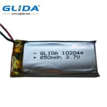Large Capacity Polymer Battery with 102044 3.7V 850mAh