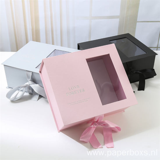 Luxury Colorful Flower Packaging Paper Box With Window