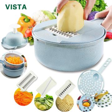 Mandoline Slicer Vegetable Slicer Potato Peeler Carrot Onion Grater with Strainer Vegetable Cutter 8 in 1 Kitchen Accessories