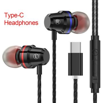 Type-c In-ear Earphones Metal Noise Reduction Bass Stereo Earbud With Mic And Line Control For LeTV Millet