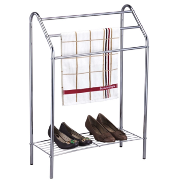 Indoor dual-purpose towel rack with shoe rack