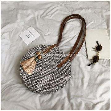 Women Round Straw Shoulder Beach Bags