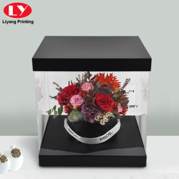 Custom Black Square Flower Box Clear Boxes Delivery