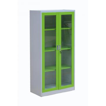 Green Frame Glass Door Office Cupboard