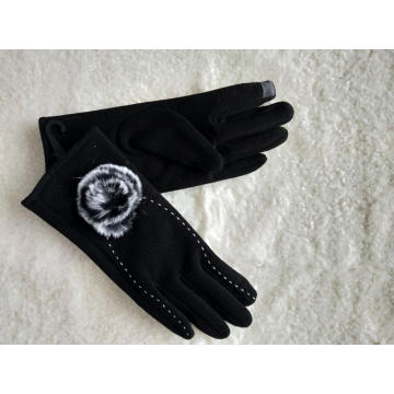 black rabbit fur pompon Soft Touchscreen lady gloves