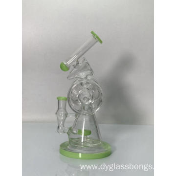 Colored jade Glass Bong with Bent neck
