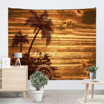 Vintage Planks Tapestry Wall Hanging Coconut Tree Wooden Board Wall Tapestry for Livingroom Bedroom Dorm Home Decor