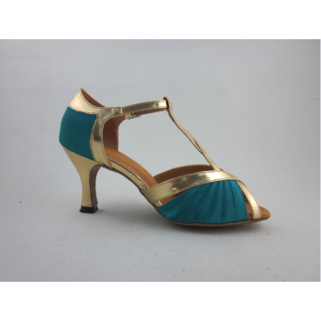 Girls blue satin latin shoes