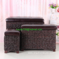 Foot Stool Storage Ottoman Bench 3 Piece Leather Cube Storage Stool Rattan Bulrush Upholstery Weave Frames Seating,