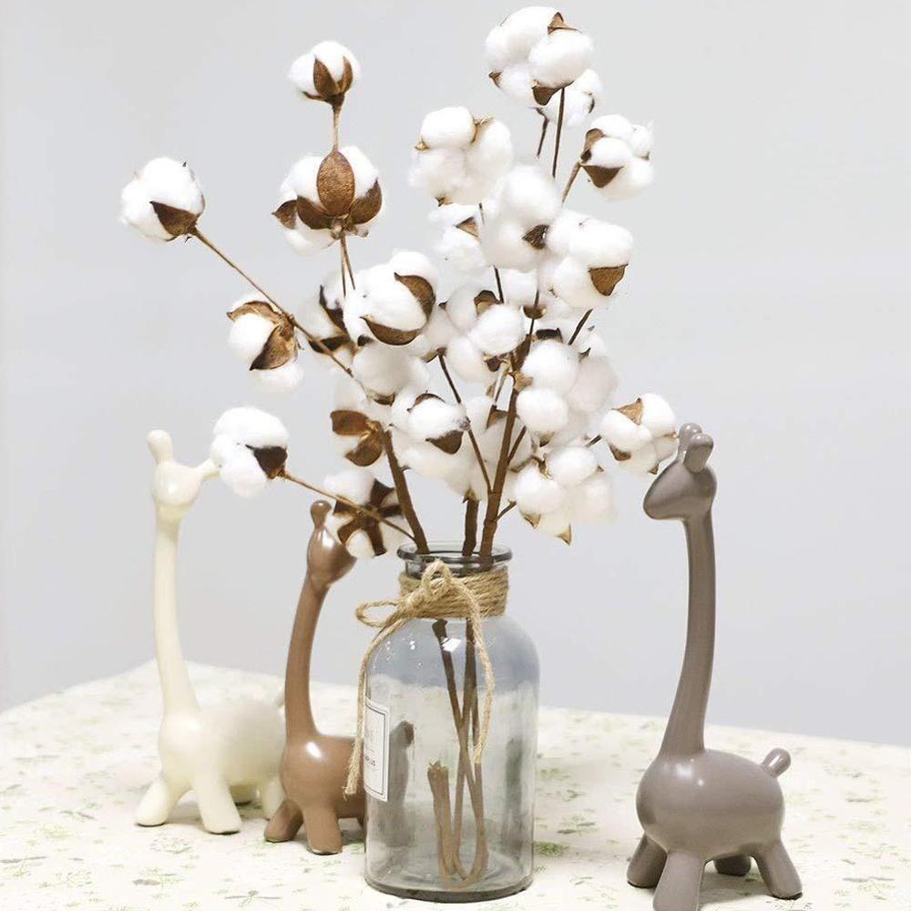 White 7 Head Cotton Cheap Home Decoration Kapok Dried Flower Bouquet Pampas Grass