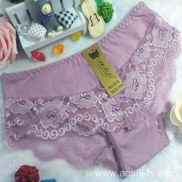 new style China wholesale cheap cameo brown sexy girl lace cotton fancy underwear 875