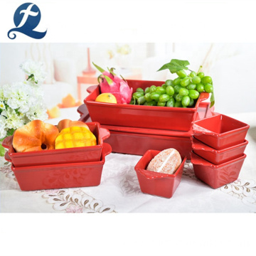 Red Rectangular Nordic Stoneware Baking Dishes Ceramic Bakeware Sets