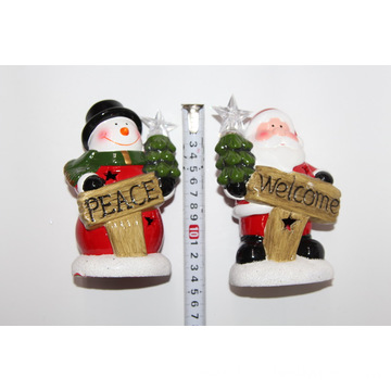 14cm Home Hotel Indoor Ceramic Decorations Xmas LED