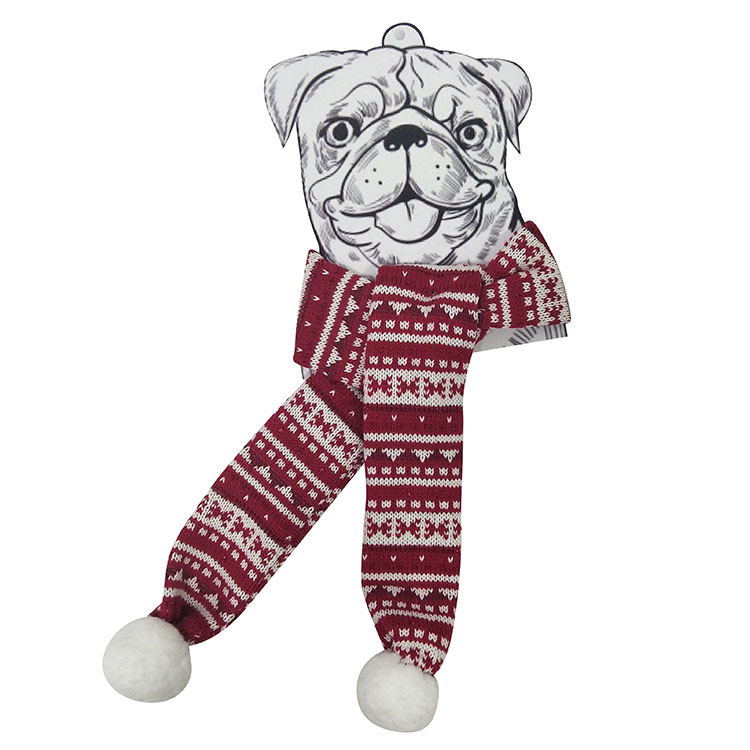Christmas dog knit scarf red 1