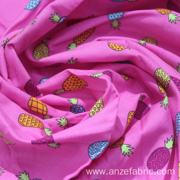 60% Cotton 40% Rayon Poplin Pineapple printed fabric