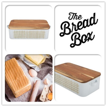 Black Dotted Metal Bread Box Storage Container