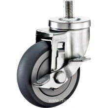 2.5inch Threaded Stem Swivel Gray Round TPR With Cover Castors With Side Brake