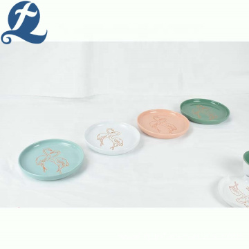 Cheap restaurant modern dinnerware flamingo ceramic plate dinner