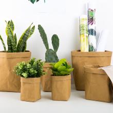 4 Size Mini Succulent Plant Pot Reusable Washable Kraft Paper Flower Pot Creative Multifunction Home Storage Bag For Desk Decor
