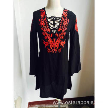 New Design V Neck Ladies Dress