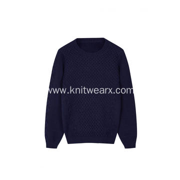 Boy's Knitted Cable Texture Crew-Neck Pullover