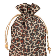 Leopard printed linen gift bag wholesale