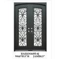 Wrought iron entry doors with glass