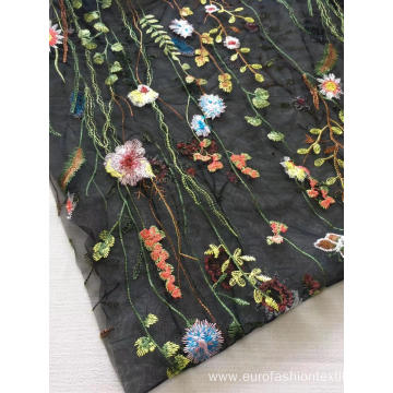 Colorful Flat Embroidery Fabric of Water Plant Flower