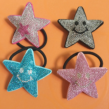 Ornements de cheveux strass multicolore en cuir Star Smile Starfish