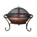 "26"" Round Porcelain Wood Burning Fire Pit"
