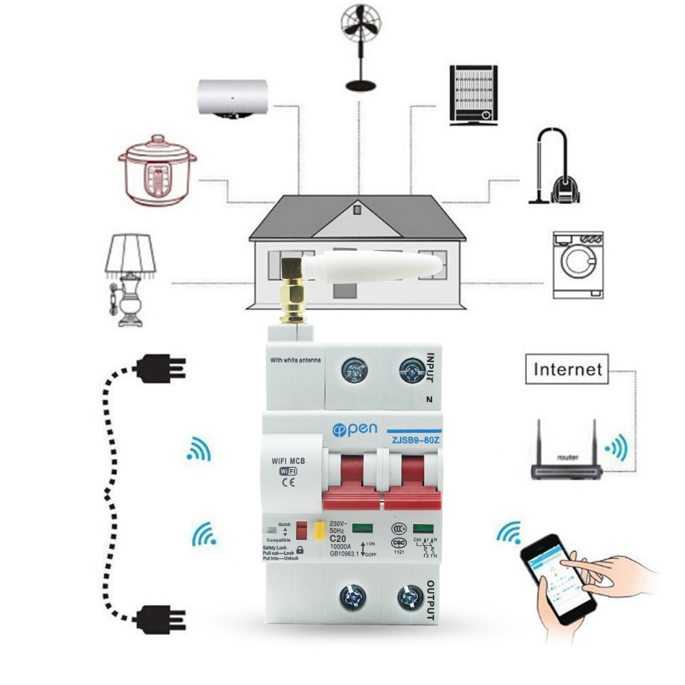 OPEN 2P Remote Control Wifi Circuit Breaker /Smart Switch/ Intelligent Automatic Recloser overload ,short circuit protection