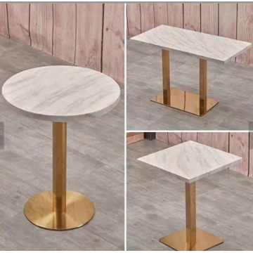 round gold stainless steel table base