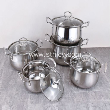 Stainless Steel Curved Soup Pot Set of Five