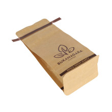 biodegradable zip lock one way valve coffee packing bag flat bottom