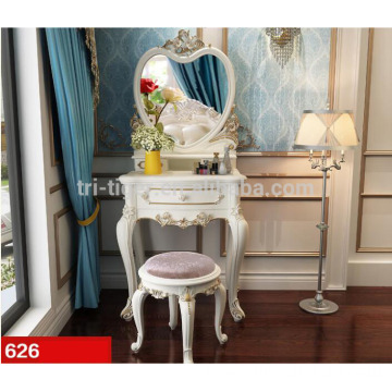 Fancy Bedroom paulownia white black vanity table set with bench stool