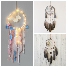 Nordic Wind Chimes Handmade Indian Dream Catcher Net With Feathers Wall Hanging Dreamcatcher Craft Gift Kids Home Decoration