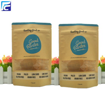 Paper stand up pouches for food with window
