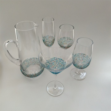 Colorful dots decor glass drinking set