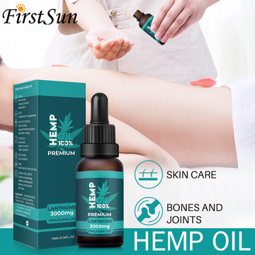 Organic Hemp Oil 3000mg CBD Hemp Seeds Oil Extract Drops for Skin Pain Relief Reduce Anxiety Better Sleep Essence Anti Stress