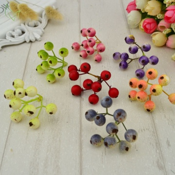 5pcs Free delivery Cherry Berry artificial fruits flowers Cheap berries Wedding Decoration Handmade DIY Scrapbooking Fake Flower