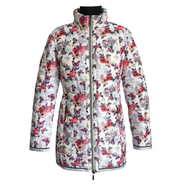 Women Quilted Jacket flower printed