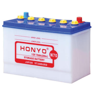 N70 Dry Charged Car Batteries 12V 70Ah
