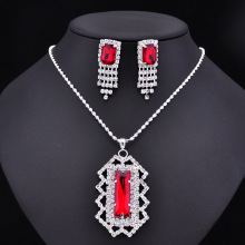 Red Rhinestone Party Necklace Earring Jewelry Set