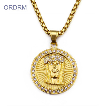 Hip Hop Crystal Gold Jesus Pendant Necklace