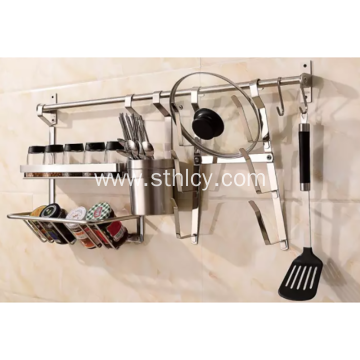 Stainless Steel  Kitchen Pot Pan Wall Rack