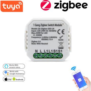 1pcs Tuya Smart Home Product Smart Switch Module Zigbee-S05-LN Zero Fire Version On-Off Device Work With Alexa Google Home