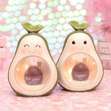 Cute Fresh Avocado Night Light Wrought Iron Table Light Resin Crafts Ornaments Bedroom Bedside Decorations Kids Birthday Gift