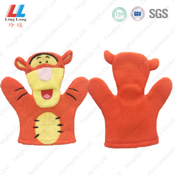 Lovely orange kids bath gloves