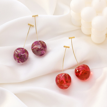 Elegant Temperature Simple Style Resin Embedded In Dried Flowers Fresh Cherry Earring Boucle D'oreille Pendientes Mujer Moda