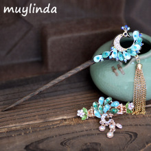 Retro Peacock Charm Hair Stick Painting Chinese Style Vintage Hair Clip Jewelry Women Party Banquet Hair Accessories
